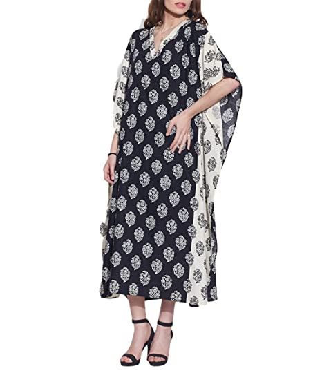 71a2815e91 Free Size Comfortable Airy Tunic Casual Cotton Kaftan Night Wear Indian  Dress For Women Printed  Amazon.in  Clothing   Accessories
