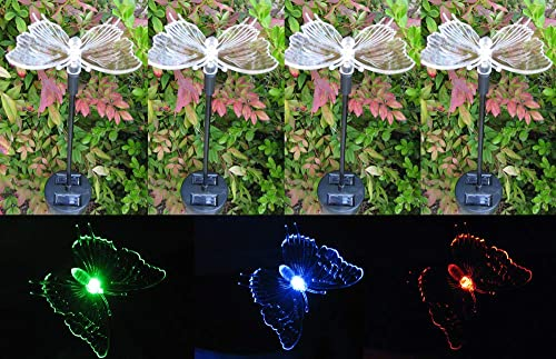 Tektrum Solar Garden Color Changing Butterfly Stake Lights Set of 4