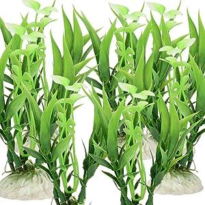 """Quickun Green Artificial Plastic Plants Set Aquarium Decor Fish Tank Ornament 4.33"""" Tall Pack of 12"""