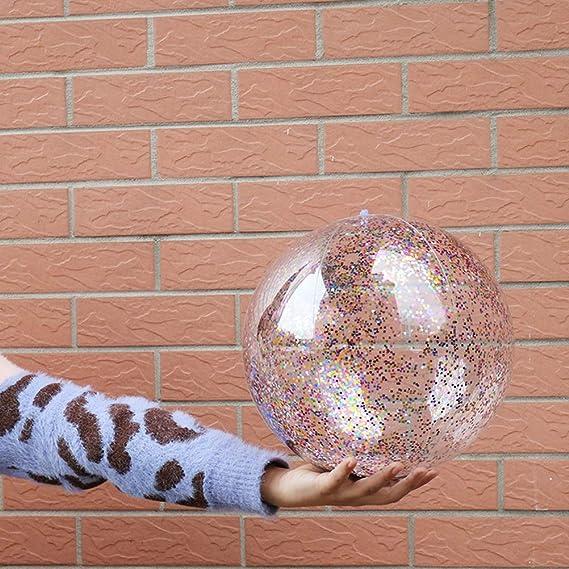 Vosarea 16 Pulgadas Transparente de Lentejuelas Bola Inflable Verano Divertido Agua Diversión Jugar Pelota de Playa Bola de Billar Bola de Fiesta Favor de los Niños para Niños: Amazon.es: Deportes y aire