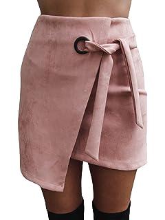 e0f3b24fa2e8c5 Melegant Damen Herbst Asymmetrischer Rock Mini Leder High Waist Eng Skrit  Mit Schlitz Winter