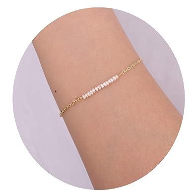 8261e410b4ed6 Dainty Cultured Pearl Bracelets 18K Gold Bracelet Jewelry for Women Girls