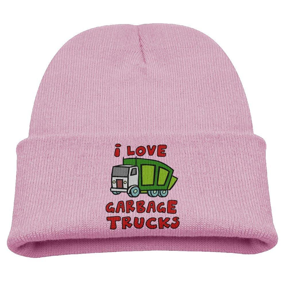 XIAOHU I Love Garbage Trucks Kid Beanie Cap Black