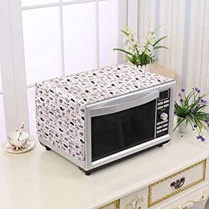 OSALADI Microwave Dust Cover, Microwave Oven Dustproof Cover, Anti-Dust Linen Fabric for Toaster Broiler Oven Home Appliance, Dust and Fingerprint Protection(Cat Pattern)