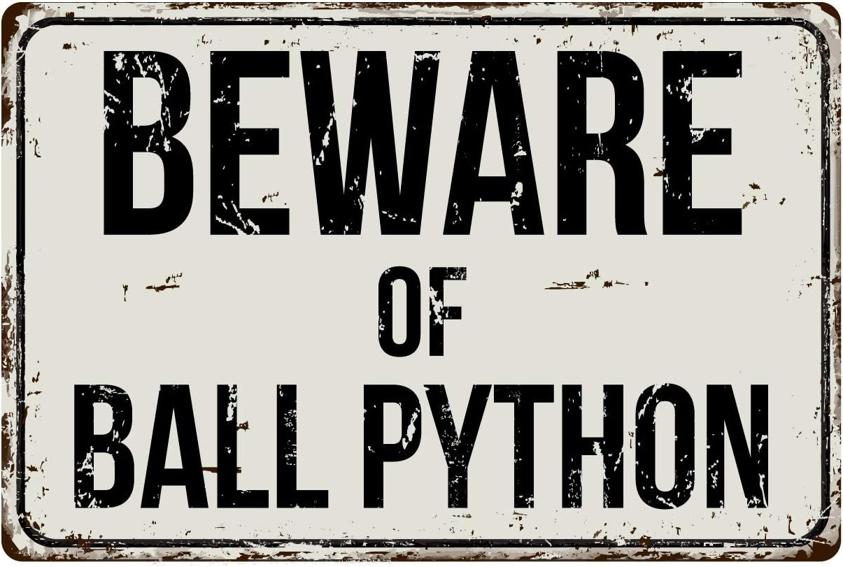"Deerts 133VS Beware of Ball Python 8"" x 12"" Vintage Aluminum Retro Metal Sign"