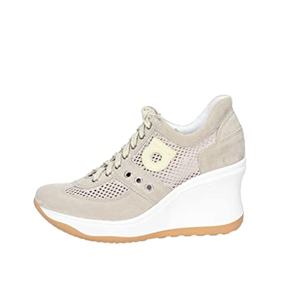 LINE 1800-82627 1800 A LEON SNEAKERS Wedges, WEDGE MITTEL HOCH, NEUE KOLLEKTION FRÜHLING SOMMER 2016 LEDER WEISS Agile by rucoline