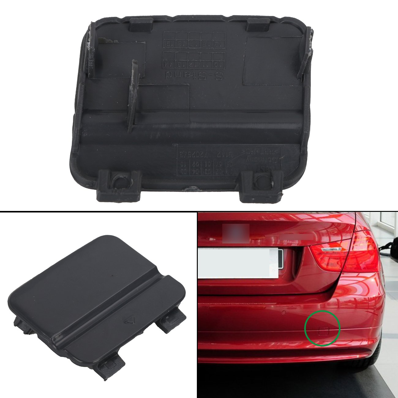 General Mega Rear Bumper Tow Hook Cover//Towing Eye Cap for BMW 3-Series E90 2009-2011 Black Primed
