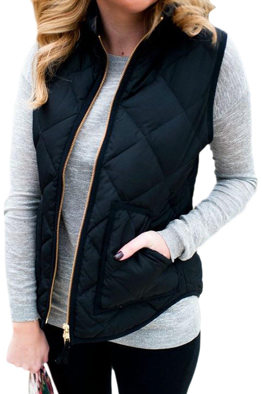 Women's Stand Collar Full Zip Up Quilted Jacket Vest Waistcoat CATNCJJ1