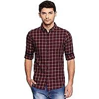 Dennis Lingo Men's Checkered Tealblue Slim Fit Casual Shirt