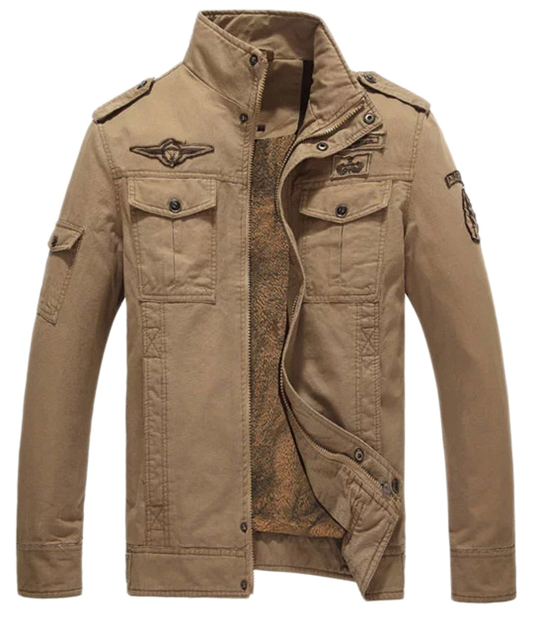 Chouyatou Men's Casual Long Sleeve Full Zip Jacket With Shoulder Straps (X-Small, Thick-Khaki)