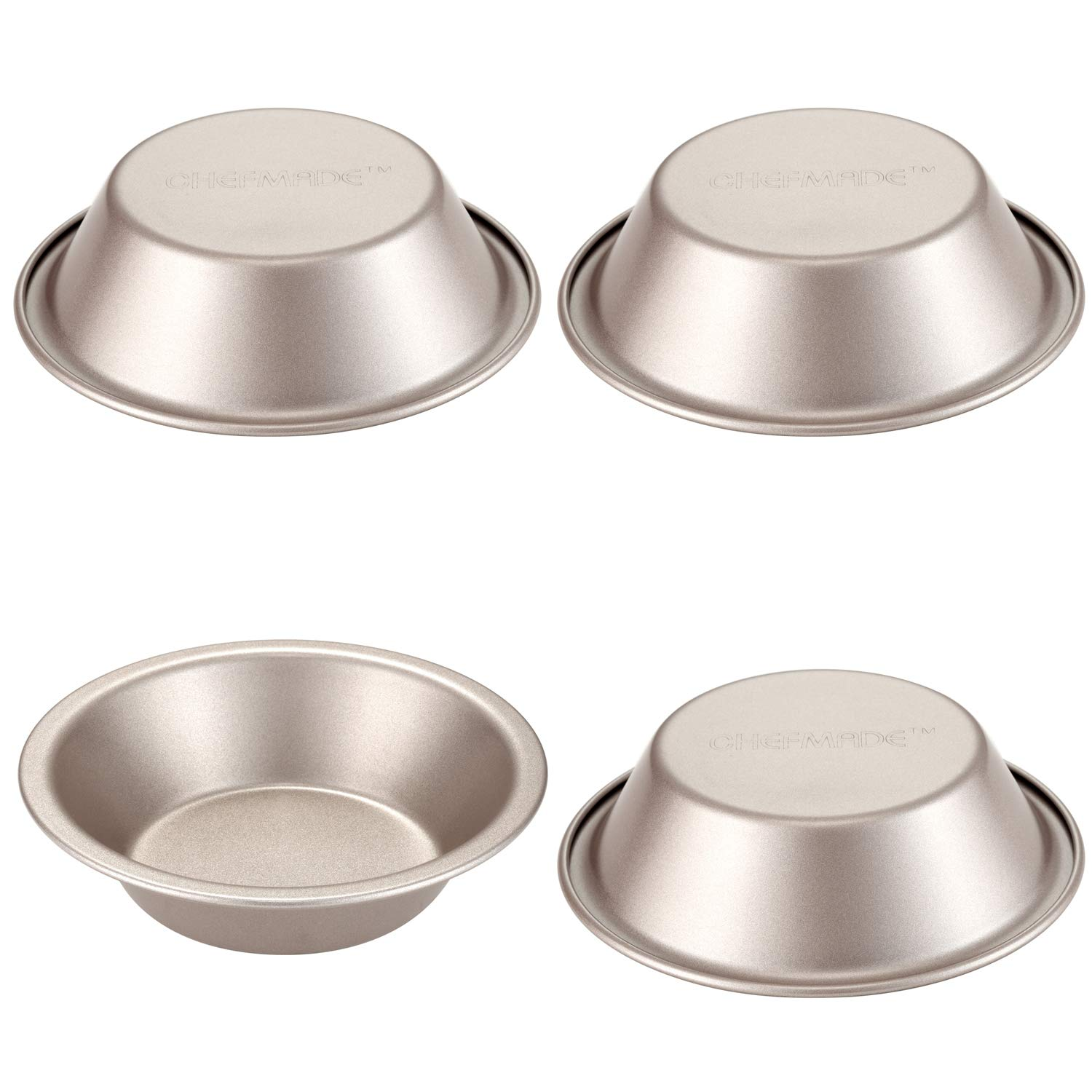 CHEFMADE Mini Round Pie Pan Set, 4PCS 5-Inch Non-stick Carbon Steel Tart Pan, FDA Approved for Oven Baking (Champagne Gold)