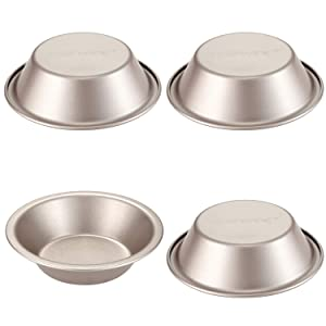 CHEFMADE Mini Pie Pan Set, 5-Inch 4Pcs Non-Stick Round Bread and Meat Bakeware, FDA Approved for Oven and Instant Pot Baking (Champagne Gold)