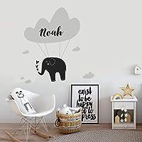 Personalised Elephant Cloud Hearts Wall Art Sticker Girls Boys Unisex Baby Nursery Bedroom Any Name Text Initial Monogram Kids Childrens Custom Decal Mural Vinyl Room Decor