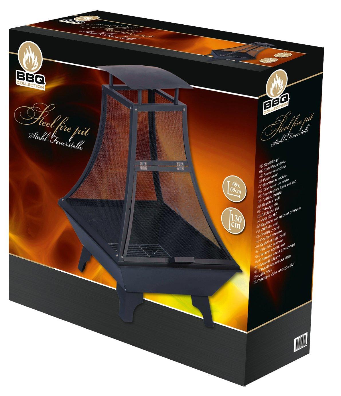 Feuerkorb Feuerstelle, Stahl, schwarz  grau, 69 x x x 69 x 130 cm 942cc0