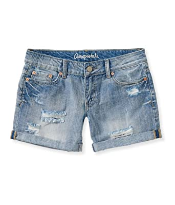 56ee196fb6 Amazon.com: Aeropostale Womens Boyfriend Casual Denim Shorts Blue 000 -  Juniors: Clothing