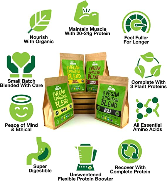 BodyMe Mezcla de Proteina Vegana Organica en Polvo   Naked Natural   1kg   Sin Edulcorante   Baja Carb   Sin Gluten   3 Proteinas Veganas   24g ...