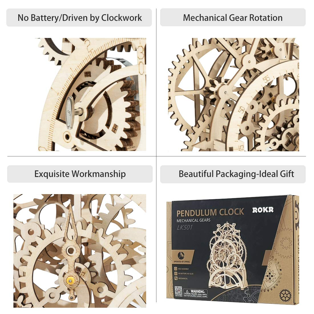 ROKR 3D Wooden Mechanical Pendulum Clock Puzzle,Mechanical Gears Toy  Building Set,Family Wooden Craft KIT Supplies-Best Birthday Gifts for Kids  Adults