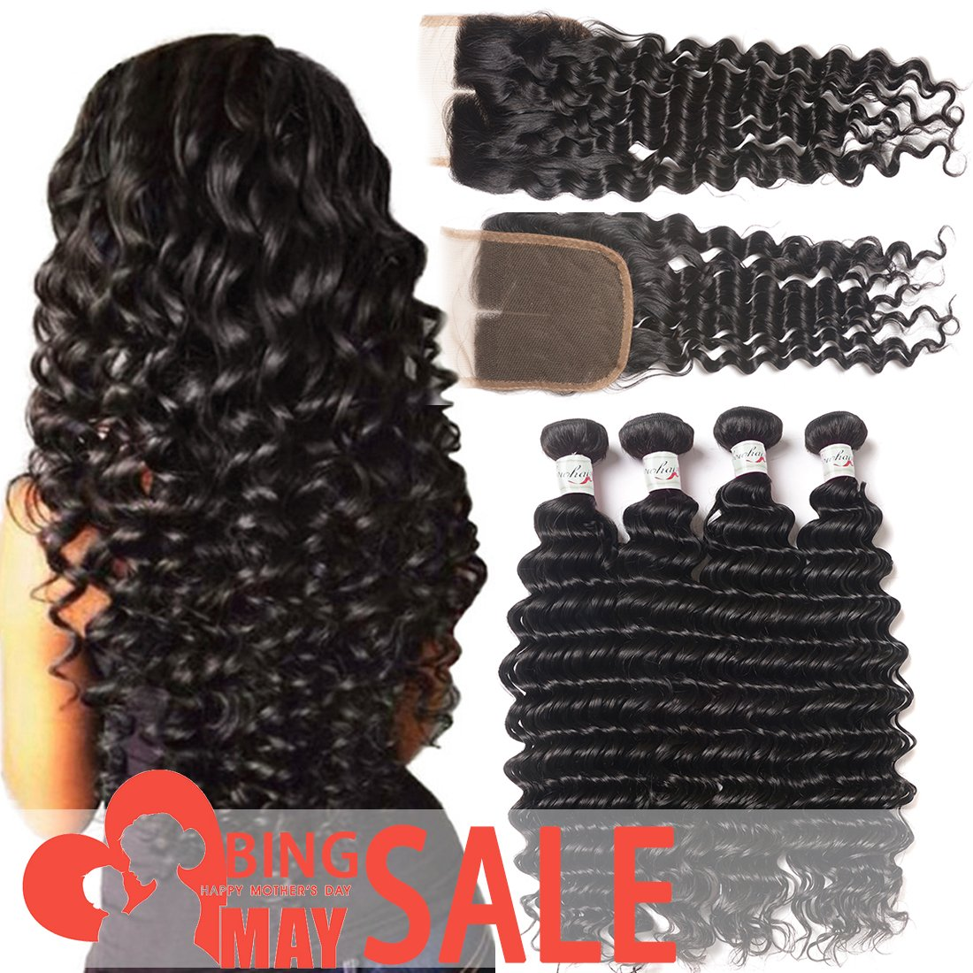 4 Bundles Brazilian Deep Wave Human Hair With Closure 100% Unprocessed Virgin Hair Extesion Deep Curly Remy Hair With Lace Closure Middle Part Natural Color (22 24 26 28+18 Lace Closure)