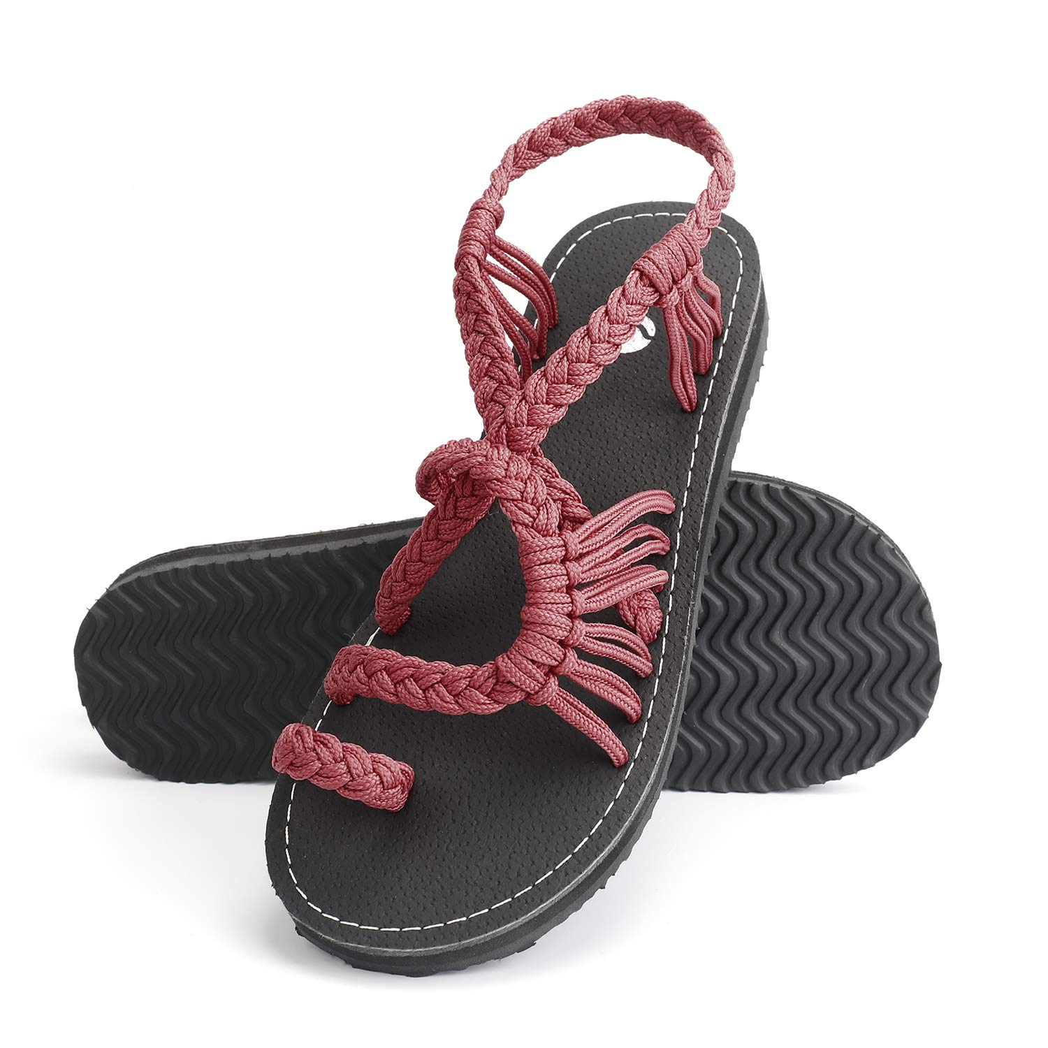Rekayla Flat Sandals - Braided Rope Walking Sandals for Women