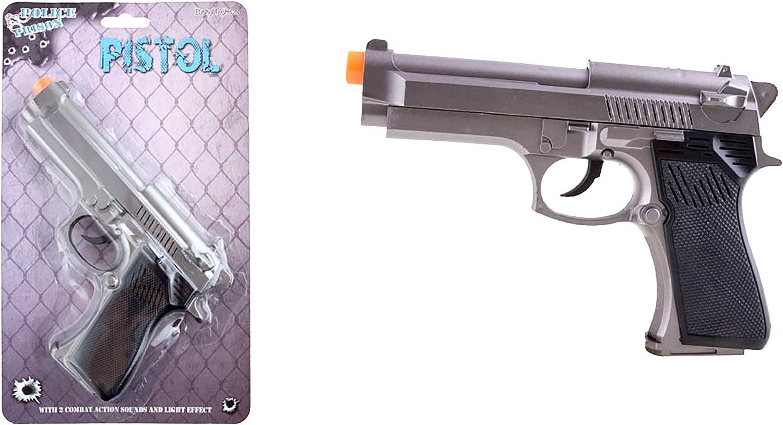 mágica Clown–Disfraz Accesorio De Police Fiesta temática metal pistola de agente de policía de Bandit, 15cm, multicolor