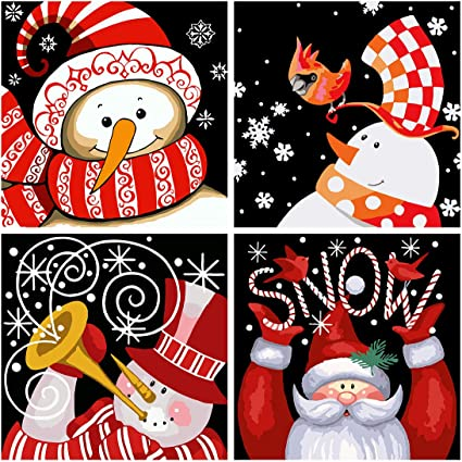 3-Pack Christmas Paint by Numbers for Adults Kids DIY Canvas Oil Painting Kits 16 W x 20 L Drawing Paintwork with Paintbrushes Santa Claus, Snowman, Snowman Acrylic Pigment Xmas Gift