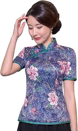 Shanghai Story Faux Silk Short Sleeve Cheongsam Top China Qipao Shirt Chinese Blouse with Black Linen Skirt
