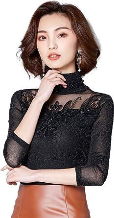 1bf9c86aa77 Ababalaya Women's Elegant Retro Turtleneck Glitter Mesh Embroidery Long  Sleeve Fitted Blouse,Black,XS