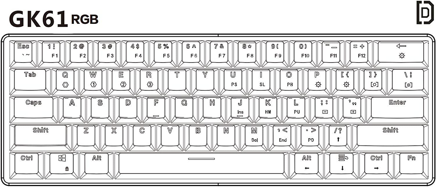 GK61 Hot Swappable Mechanical Keyboard Waterproof Programmable for PC//Mac Gamer Tactile 61 Keys Multi Color RGB Illuminated LED Backlit Wired Gaming Keyboard Gateron Optical Brown Typist