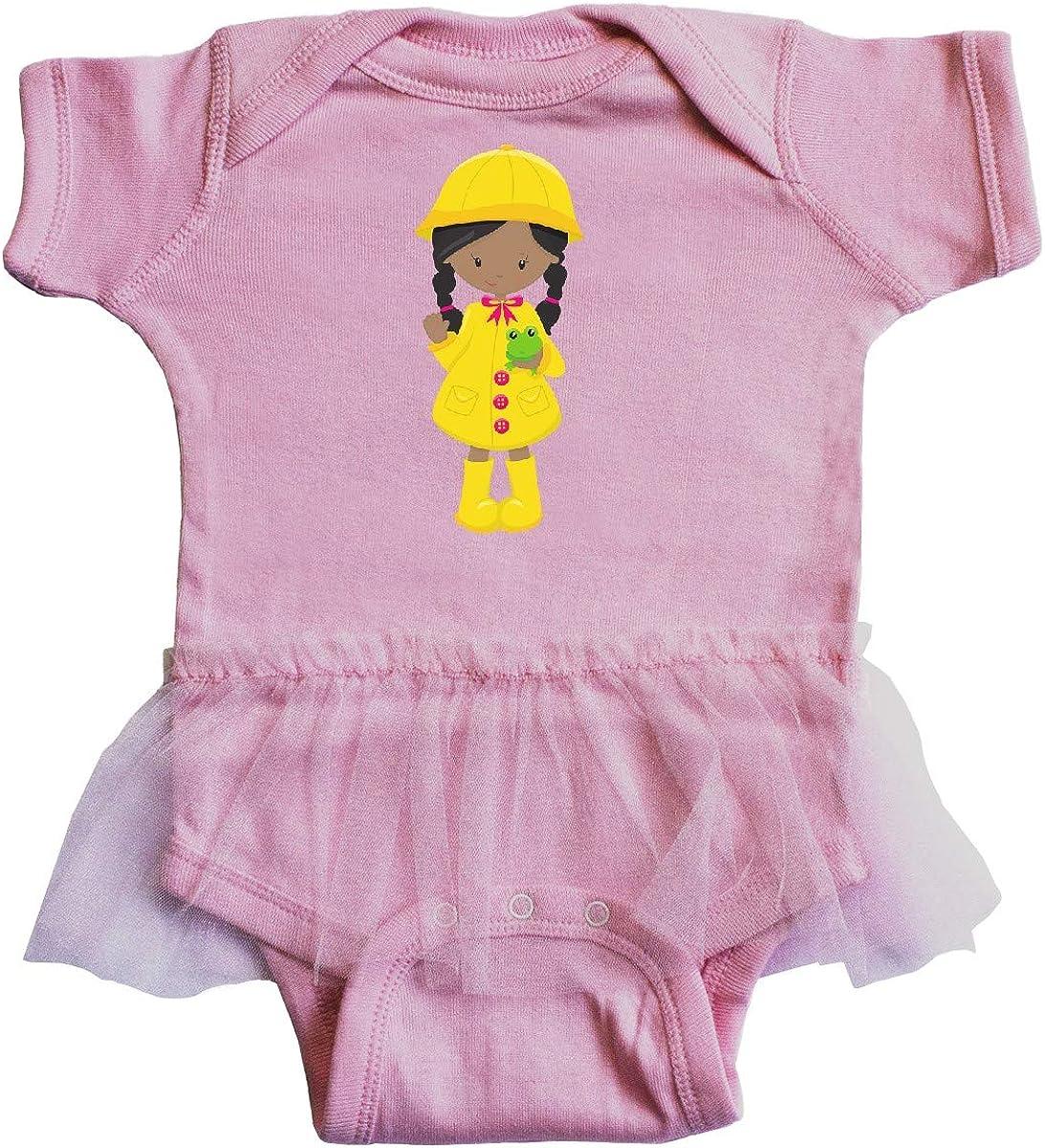 inktastic African American Girl Frog Infant Tutu Bodysuit Yellow Raincoat