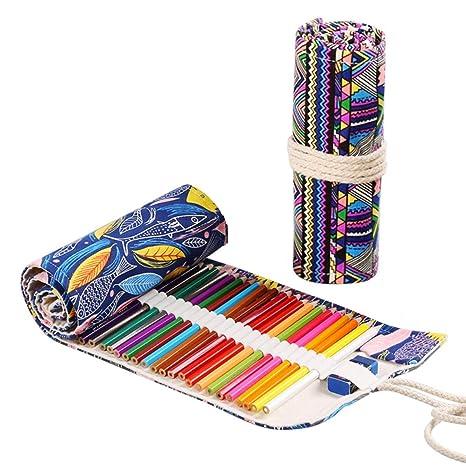 JZK 2 x Estuche enrollable lapices bolsa de lapices de lona ...