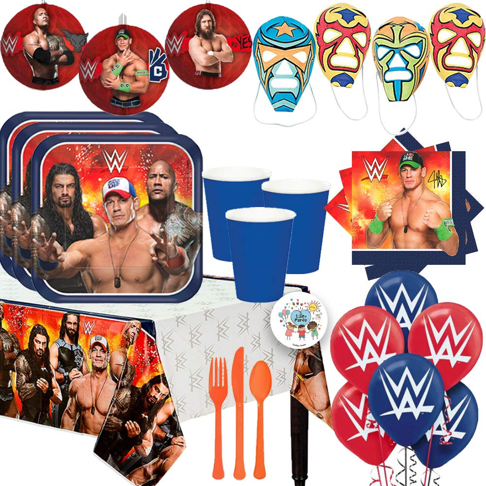 Mega Wrestling WWE Birthday Party Supplies Pack For 16 With Plates, Cups, John Cena Napkins, Tablecover, DIY Wrestling Masks, Cutlery, Honeycomb Deco, Balloons, and Exclusive Pin by Another Dream