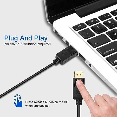 Monitor Desktop Adattatore per convertitore da DisplayPort a VGA Placcato in Oro per Computer Confezione da 3 HDTV PC Laptop Maschio a Femmina EEEKit Display Port to VGA proiettore