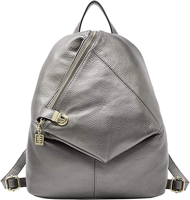 Nice backpack leather woman lady unisex green color safe against theft bag with zipper quadratic originally extravagant shape travel school