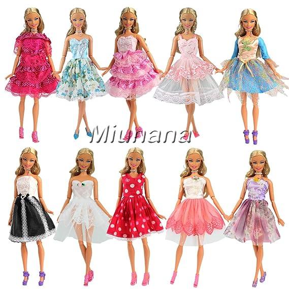 Amazon.es: Miunana 5x Vestidos de Noche Mini Vestido Corto Ropa Casual Vestir Fiesta como Regalo para Muñeca Barbie Doll Estilo al Azar: Juguetes y juegos