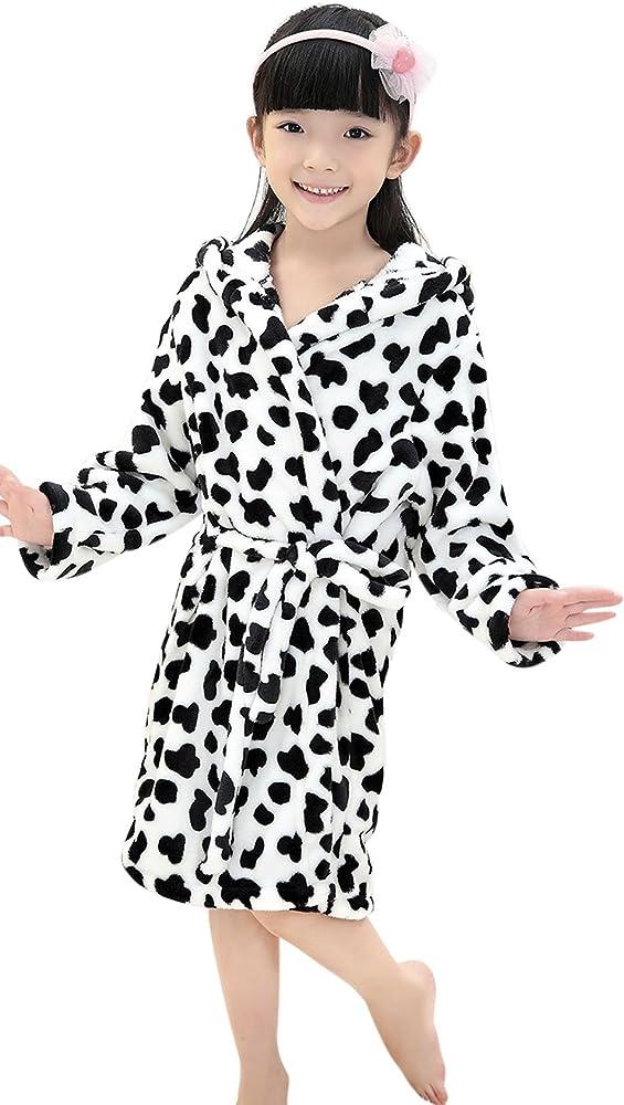 Amazon Com Kids Children Soft Coral Fleece Hooded Bathrobe Leopard Plush Velvet Sleepwear Robe Cover Up Wrap Clothing