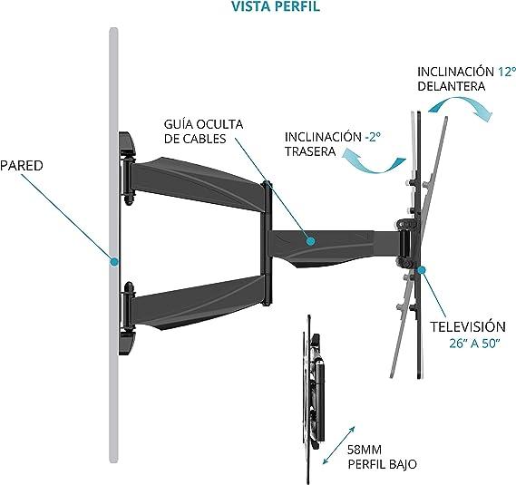 TM Electron TMSLC141 Soporte de pared universal inclinable giratorio con brazo para monitores o televisores LED, OLED, LCD, Plasma de 37