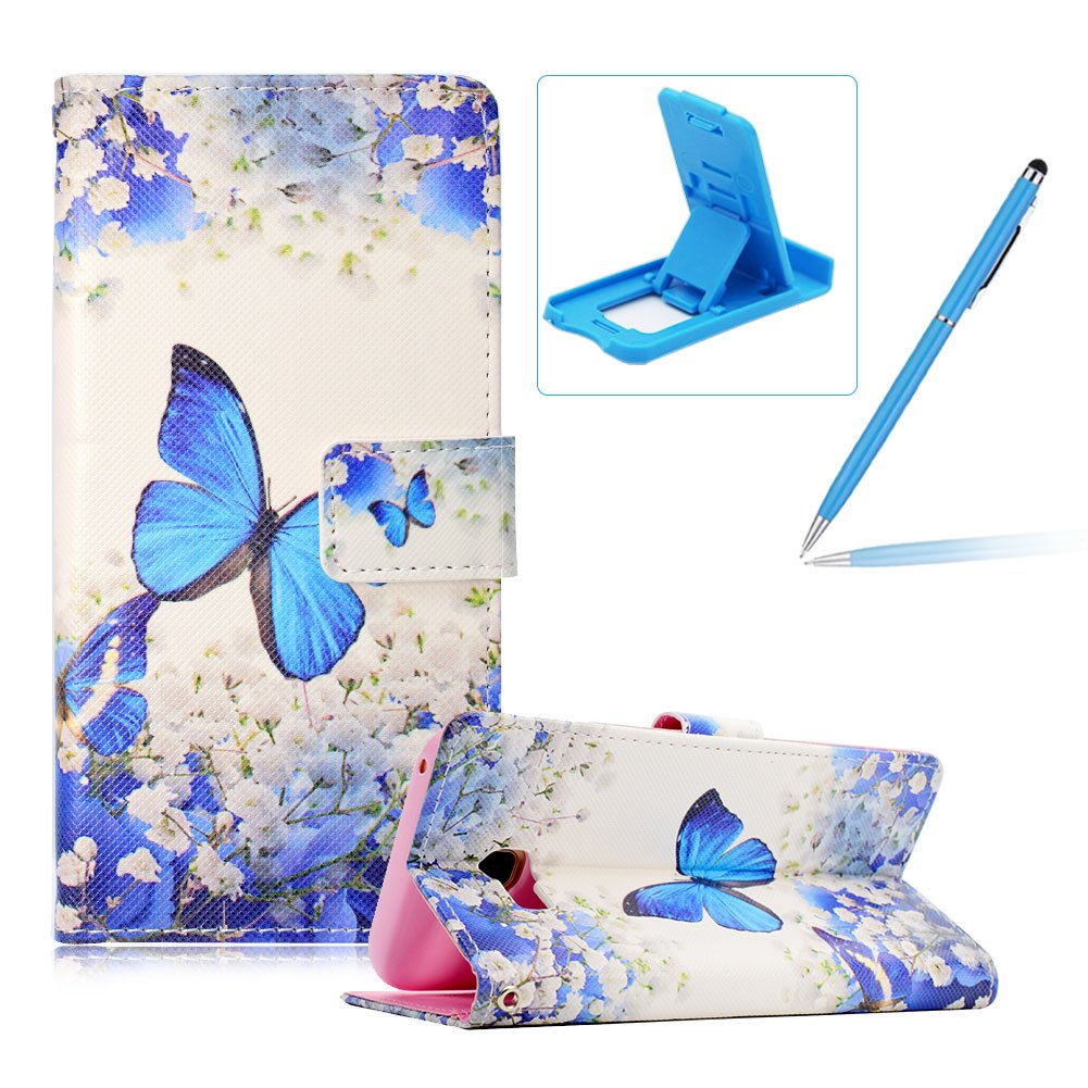 Leather Case for Samsung Galaxy A5 2015 A500, Wallet Flip Cover for Samsung Galaxy A5 2015 A500, Herzzer Stylish Woodpecker Flowers Print Magnetic Full Body Card Slots Stand Folio Synthetic Leather Case with Soft Silicone
