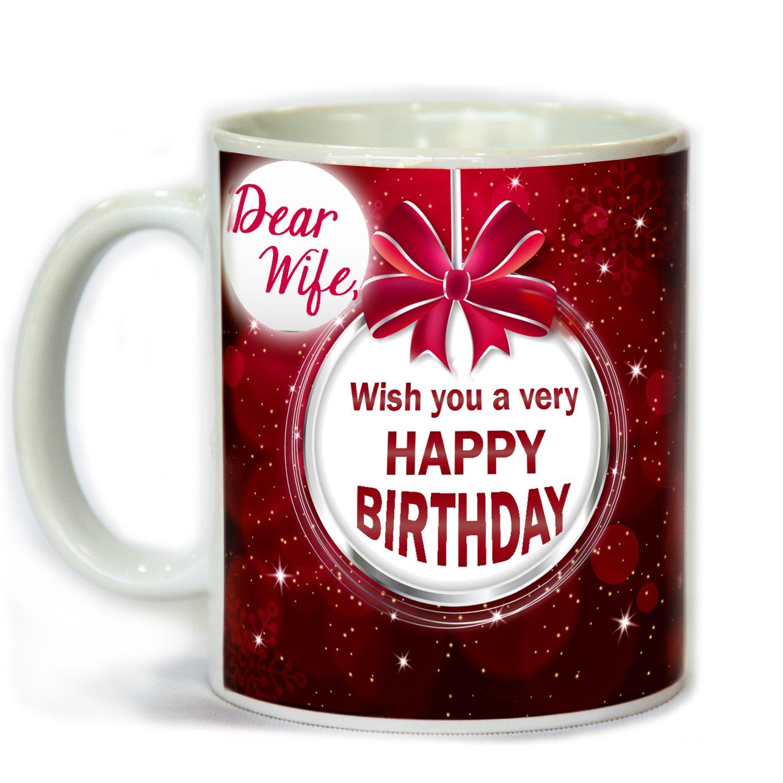 Tohfah4u happy birthday gift set for wife 1 mug 1 key ring 1 tohfah4u happy birthday gift set for wife 1 mug 1 key ring 1 photo frame 1 greetings card 1 smiley badge and 1 teddy bear amazon home kitchen negle Choice Image