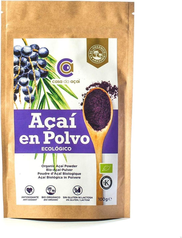 Açaí Ecológico en Polvo 100g, Açaí Berry Organic Powder Biológico Orgánico, Bayas de Acai Organico en Polvo