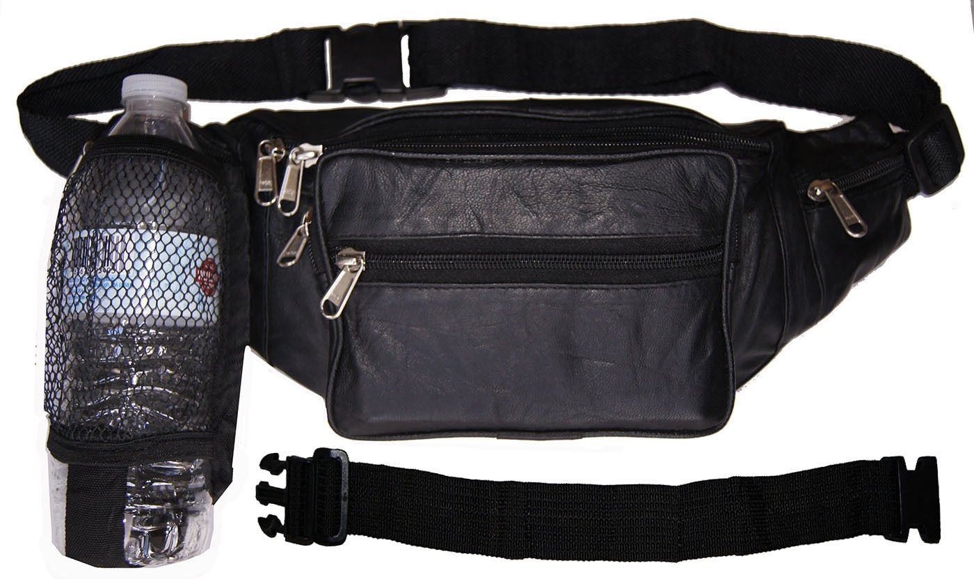 Leather Men Women Waist Net Bottle Fanny Pack Travel Pouch With 18'' Extension