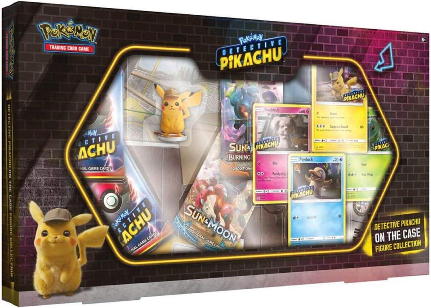 Pokémon TCG: Detective Pikachu ON The CASE Box | 4 Foil Promo Cards | 5 Booster Packs | Detective Pikachu Figure