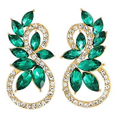 6d40aa6fabd9 Brillante Rhinestones Verde Azulado Marquesa Cristal 8 Formas Infinitas Oro  Pendientes
