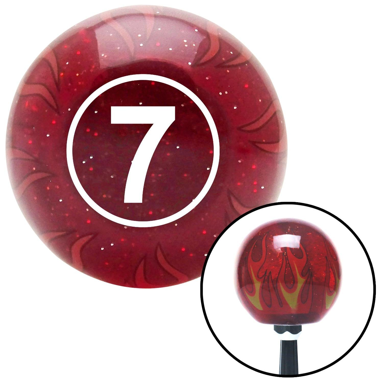 White Ball #7 American Shifter 236290 Red Flame Metal Flake Shift Knob with M16 x 1.5 Insert
