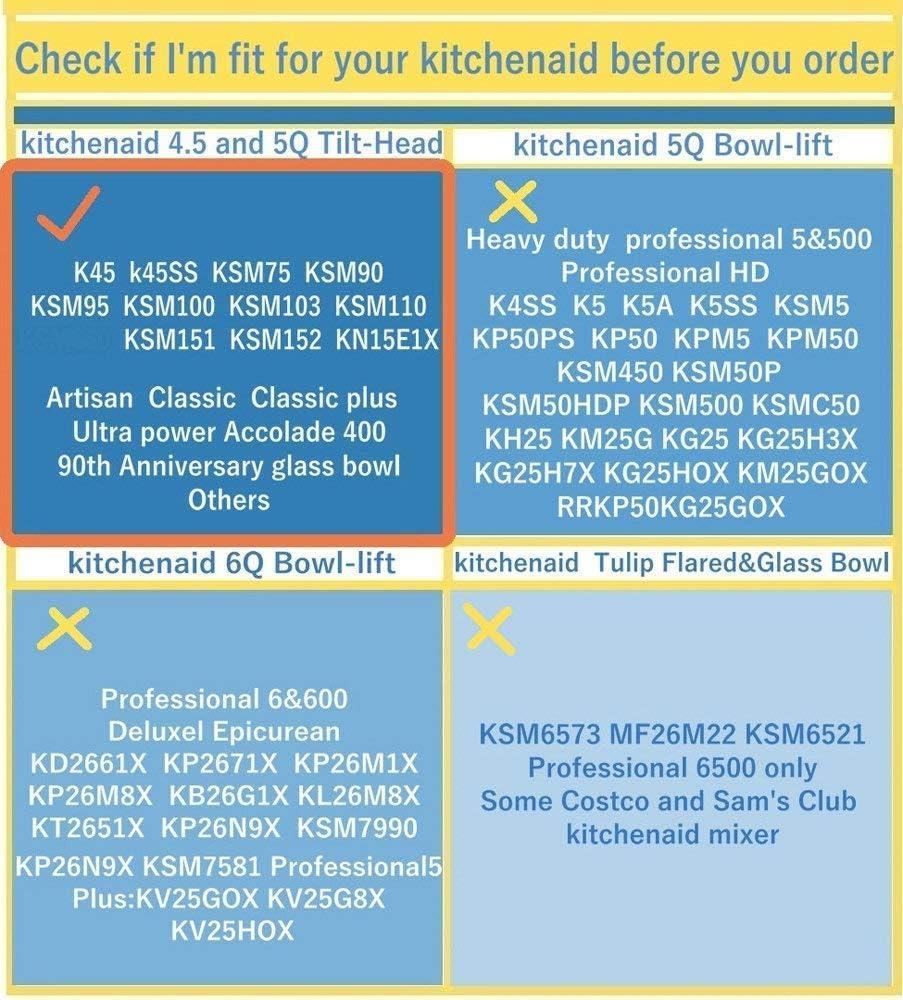 KitchenAid Mixer Accessory Flat Beater Bowl Scraper with Silicone Edges KitchenAid Attachment Flex Edge Beater for KitchenAid Tilt-Head Stand Mixer 4.5-5 Quart Bowls Renewed