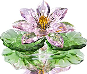 H&D HYALINE & DORA Pink Sparkle CrystalHue Reflection Crystal Lotus Flower,Glass Home Decor for Feng Shui,Gift Boxed