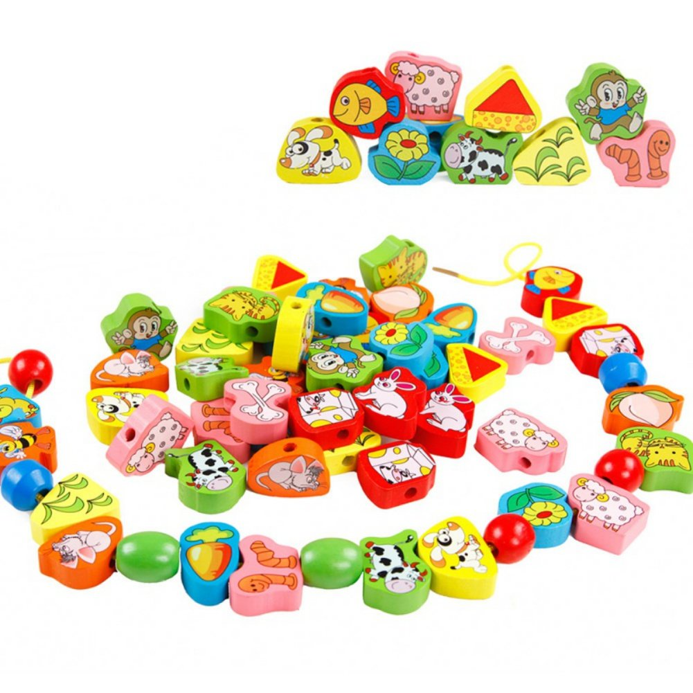 Novobey 63 Pieces Colorful Wooden Stringing Beads Various Animal Fruit Shape Lacing & String Bead Early Educational Blocks Toy for Children