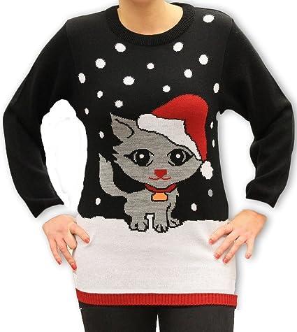 36 38 40 42 Weihnachtspullover Weihnachtskleid f/ür Damen Weihnachtliches Kleid K/ätzchen