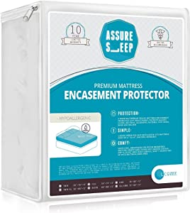 Waterproof Zippered Mattress Encasement Protector Cover - Bed Bug Proof, Breathable, Queen Size, Assure Sleep by L'COZEE
