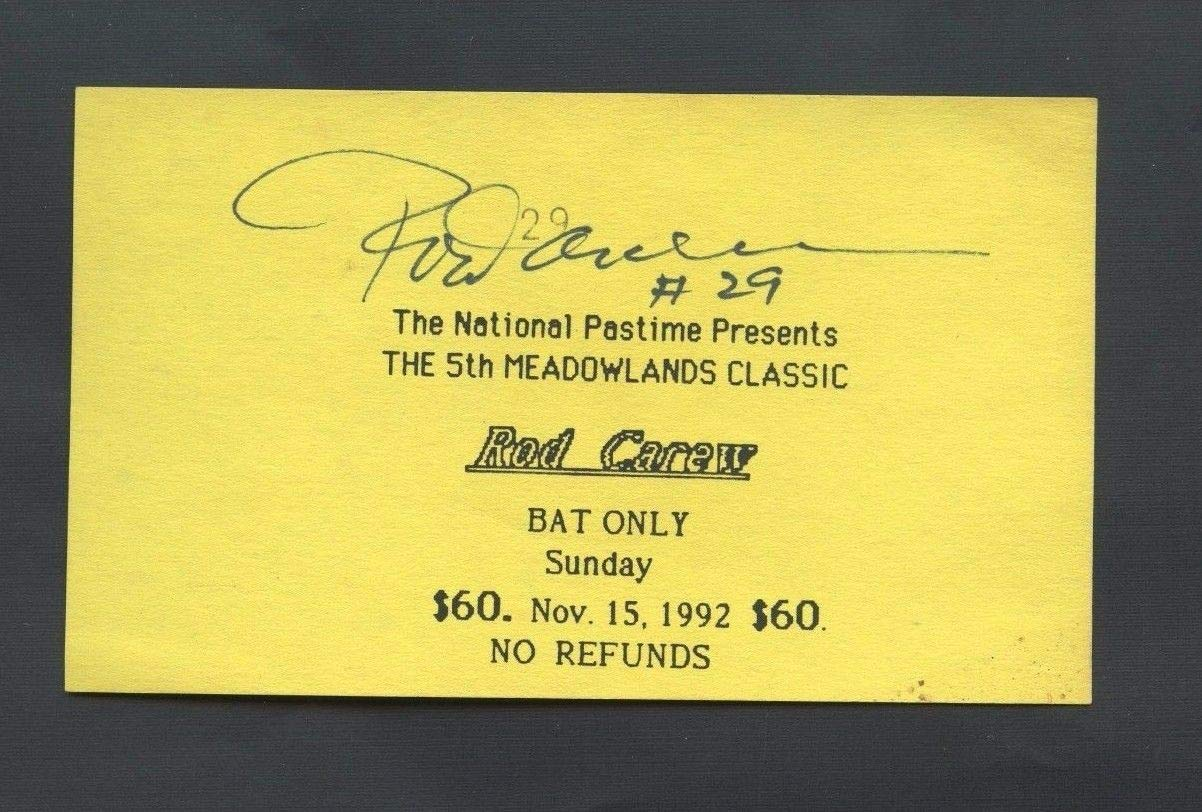 Rod Carew Autographed Signed Show Ticket Auto JSA Authentic Sticker Only Autographed Signed