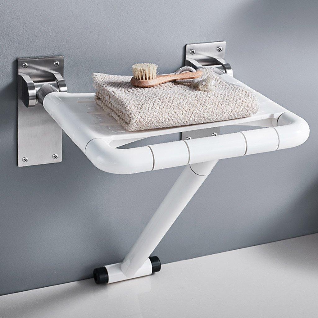 WSSF- シャワーチェア 壁掛け304ステンレススチール折りたたみ式シャワーシートチェア浴室トイレ妊娠中の女性年配のノンスリップ入浴スツールカラー (色 : 白) B07BFV7D81  白